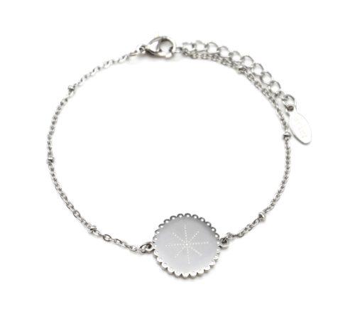 Bracelet-Chaine-Boules-avec-Medaille-Etoile-Polaire-Points-Acier-Argente