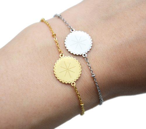 Bracelet-Chaine-Boules-avec-Medaille-Etoile-Polaire-Points-Acier