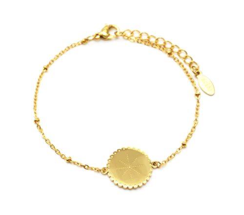 Bracelet-Chaine-Boules-avec-Cercle-Grave-Etoile-Polaire-Contour-Ondule-Acier-Dore
