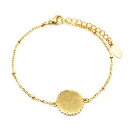 Bracelet-Chaine-Boules-avec-Medaille-Etoile-Polaire-Points-Acier-Dore