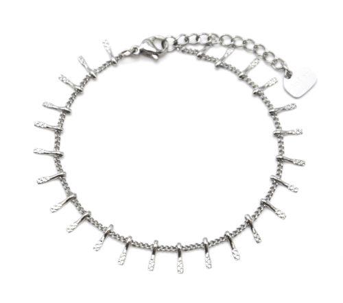 Bracelet-Chaine-avec-Multi-Pampilles-Relief-Carreaux-Acier-Argente