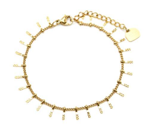 Bracelet-Chaine-avec-Multi-Pampilles-Relief-Carreaux-Acier-Dore