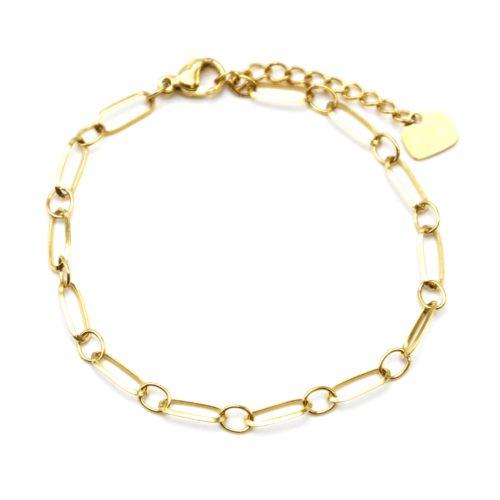Bracelet-Chaine-avec-Maillons-Rectangles-Acier-Dore