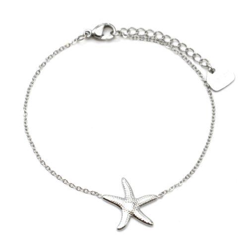 Bracelet-Fine-Chaine-avec-Charm-Etoile-de-Mer-Acier-Argente