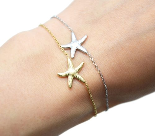 Bracelet-Fine-Chaine-avec-Charm-Etoile-de-Mer-Acier