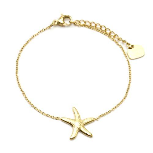 Bracelet-Fine-Chaine-avec-Charm-Etoile-de-Mer-Acier-Dore