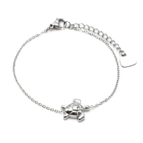 Bracelet-Fine-Chaine-avec-Charm-Tortue-Acier-Argente