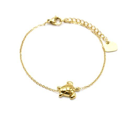 Bracelet-Fine-Chaine-avec-Charm-Tortue-Acier-Dore