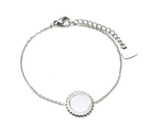 Bracelet-Fine-Chaine-avec-Cercle-Points-Acier-Argente-Centre-Nacre-Blanc