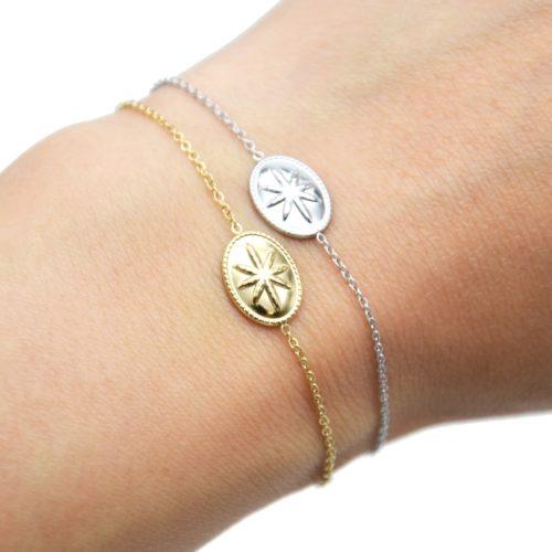 Bracelet-Fine-Chaine-avec-Ovale-Motif-Relief-Etoile-Polaire-Acier