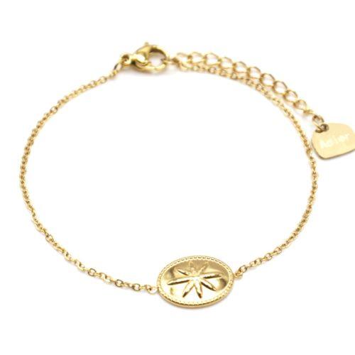 Bracelet-Fine-Chaine-avec-Ovale-Motif-Relief-Etoile-Polaire-Acier-Dore