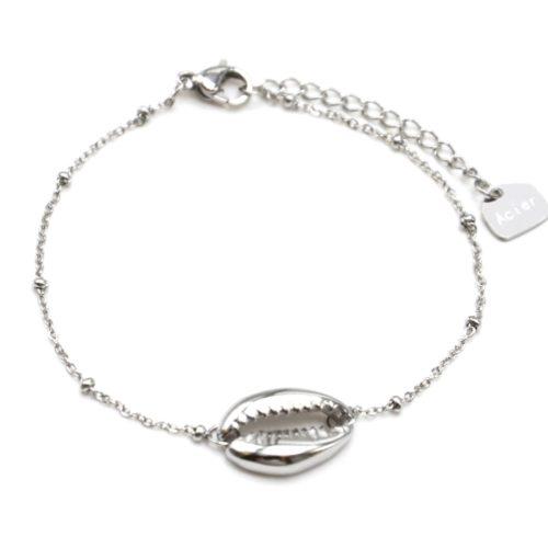 Bracelet-Chaine-Boules-avec-Charm-Coquillage-Cauri-Acier-Argente