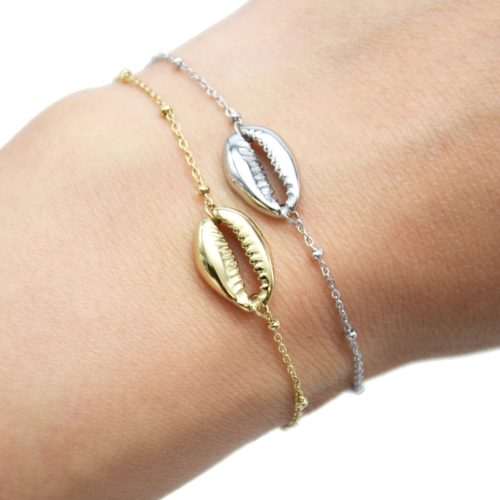 Bracelet-Chaine-Boules-avec-Charm-Coquillage-Cauri-Acier