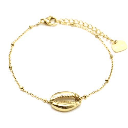 Bracelet-Chaine-Boules-avec-Charm-Coquillage-Cauri-Acier-Dore