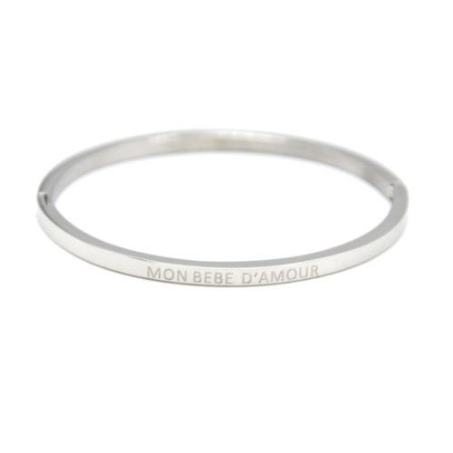 Bracelet-Enfant-Jonc-Fin-Acier-Argente-avec-Message-Mon-Bebe-D-Amour