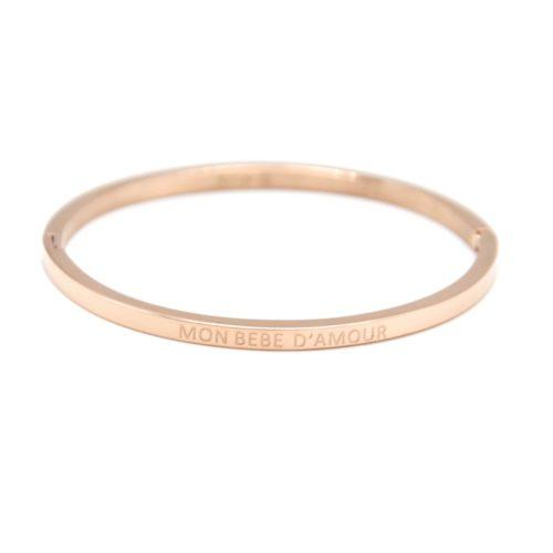 Bracelet-Enfant-Jonc-Fin-Acier-Or-Rose-avec-Message-Mon-Bebe-D-Amour