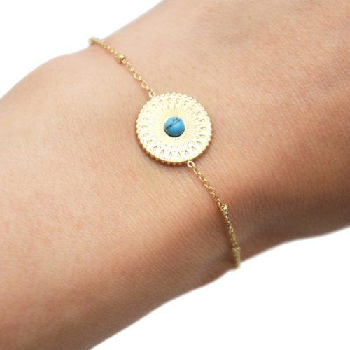 Bracelet-Chaine-Boules-avec-Cercle-Grave-Ethnique-Acier-Dore-et-Pierre-Marbre-Turquoise