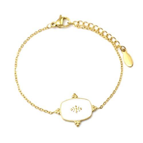 Bracelet-Fine-Chaine-avec-Medaille-Email-Blanc-Motif-Baroque-et-Acier-Dore