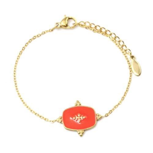Bracelet-Fine-Chaine-avec-Medaille-Email-Orange-Motif-Baroque-et-Acier-Dore