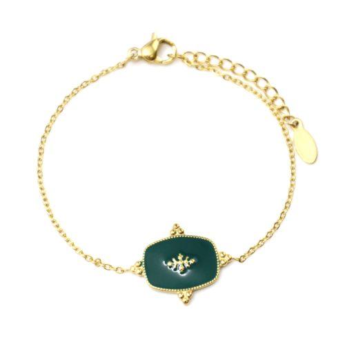 Bracelet-Fine-Chaine-avec-Medaille-Email-Vert-Sapin-Motif-Baroque-et-Acier-Dore
