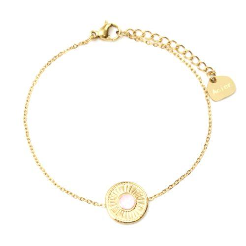 Bracelet-Fine-Chaine-avec-Cercle-Grave-Soleil-Acier-Dore-et-Pierre-Rose-Pale