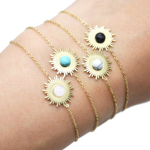 Bracelet-Fine-Chaine-avec-Soleil-Acier-Dore-et-Pierre-Effet-Marbre-Couleur