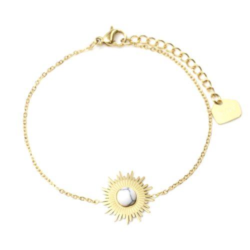 Bracelet-Fine-Chaine-avec-Soleil-Acier-Dore-et-Pierre-Effet-Marbre-Blanc