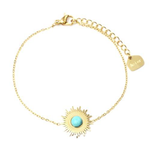 Bracelet-Fine-Chaine-avec-Soleil-Acier-Dore-et-Pierre-Effet-Marbre-Turquoise