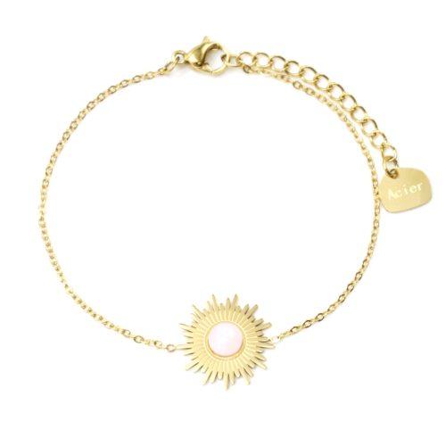 Bracelet-Fine-Chaine-avec-Soleil-Acier-Dore-et-Pierre-Effet-Naturel-Rose-Pale