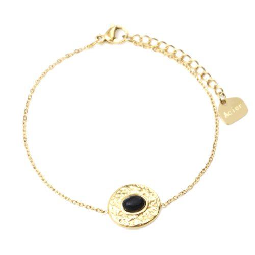 Bracelet-Fine-Chaine-avec-Ovale-Martele-Acier-Dore-et-Pierre-Noire
