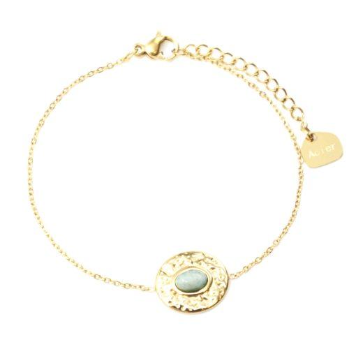 Bracelet-Fine-Chaine-avec-Ovale-Martele-Acier-Dore-et-Pierre-Vert-Pale