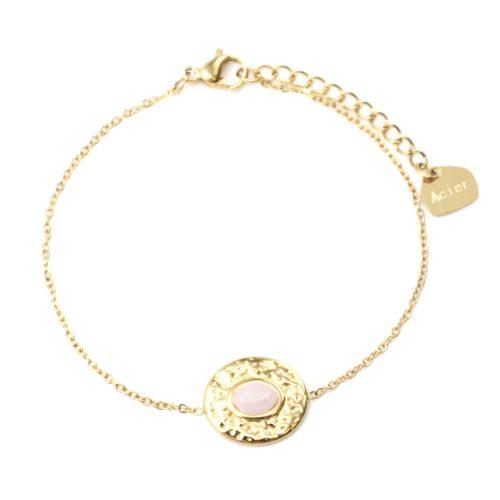 Bracelet-Fine-Chaine-avec-Ovale-Martele-Acier-Dore-et-Pierre-Rose-Pale