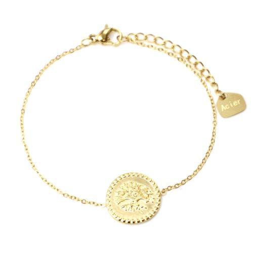 Bracelet-Fine-Chaine-avec-Medaille-Motif-Arbre-de-Vie-Acier-Dore