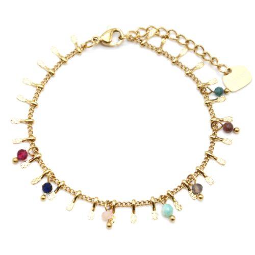Bracelet-Chaine-avec-Pampilles-Relief-Carreaux-Acier-Dore-et-Perles-Multicolore