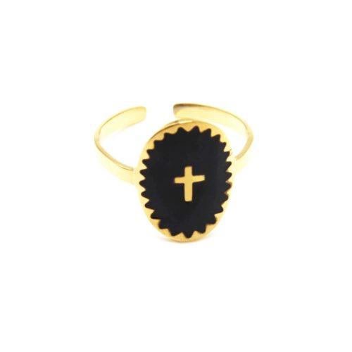 Bague-Fine-Acier-Dore-avec-Ovale-Email-Noir-Motif-Croix