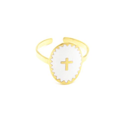 Bague-Fine-Acier-Dore-avec-Ovale-Email-Blanc-Motif-Croix