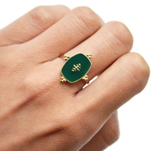 Bague-Reglable-avec-Medaille-Email-Vert-Sapin-Motif-Baroque-et-Acier-Dore