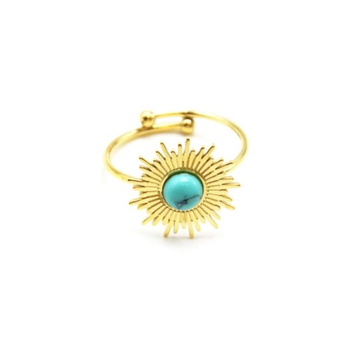 Bague-Reglable-avec-Soleil-Acier-Dore-et-Pierre-Effet-Marbre-Turquoise
