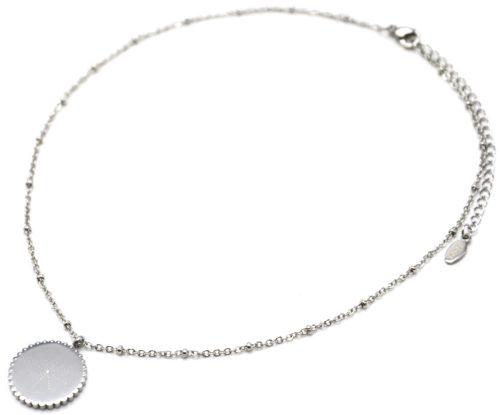 Collier-Chaine-Boules-Pendentif-Cercle-Grave-Etoile-Polaire-Contour-Ondule-Acier-Argente