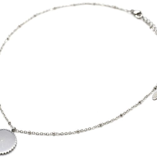 Collier-Chaine-Boules-Pendentif-Medaille-Etoile-Polaire-Points-Acier-Argente