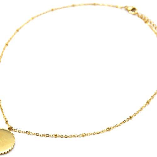 Collier-Chaine-Boules-Pendentif-Medaille-Etoile-Polaire-Points-Acier-Dore