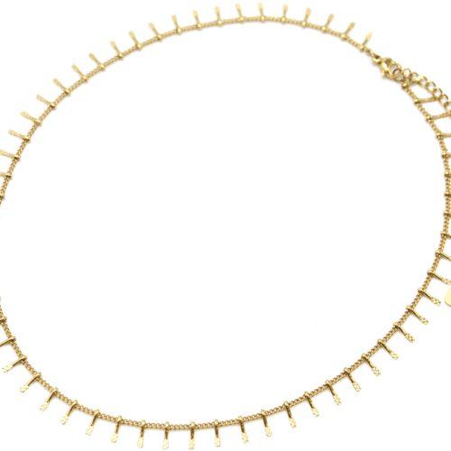 Collier-Chaine-Ras-du-Cou-avec-Multi-Pampilles-Relief-Carreaux-Acier-Dore