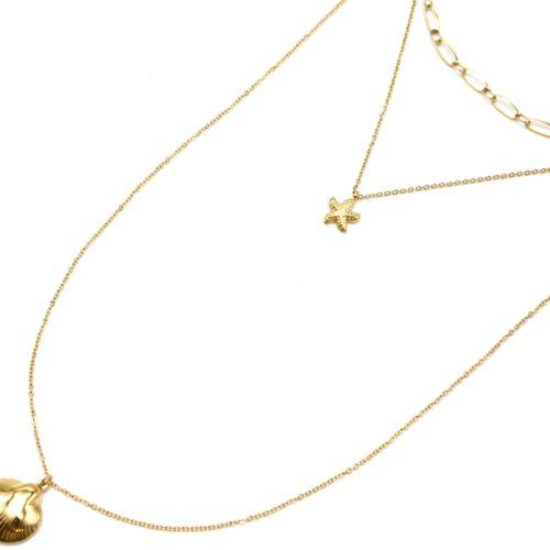Collier-Triple-Chaine-avec-Maillons-Etoile-de-Mer-et-Coquillage-Acier-Dore