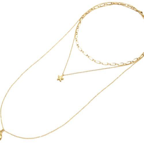 Collier-Chaine-Boules-Pendentif-Coquillage-Cauri-Acier-Argente