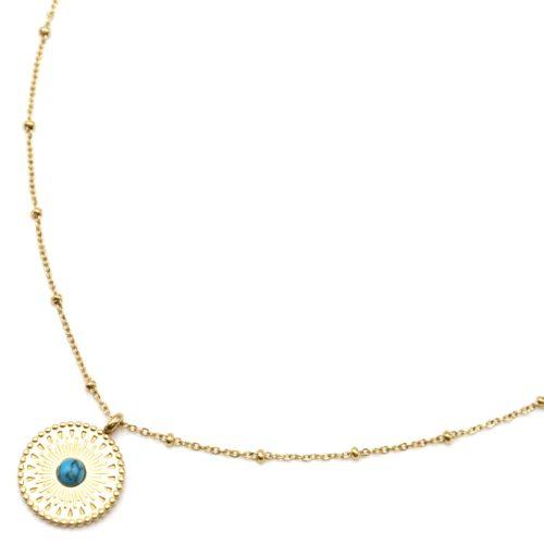 Collier-Chaine-Boules-Pendentif-Cercle-Grave-Ethnique-Acier-Dore-et-Pierre-Marbre-Turquoise