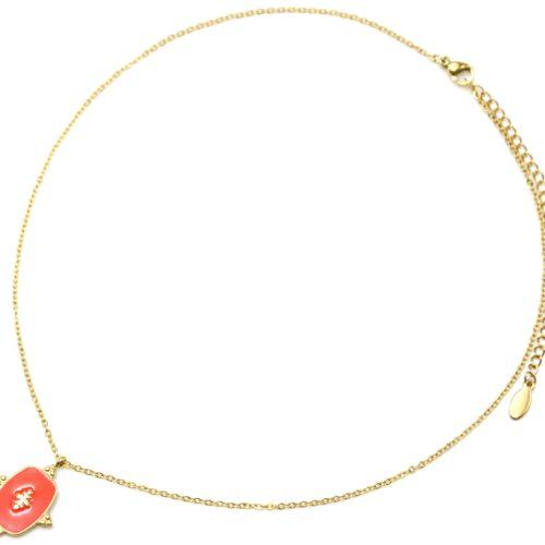 Collier-Fine-Chaine-avec-Medaille-Email-Orange-Motif-Baroque-et-Acier-Dore