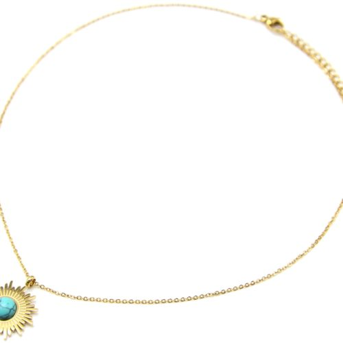 Collier-Fine-Chaine-avec-Soleil-Acier-Dore-et-Pierre-Effet-Marbre-Turquoise