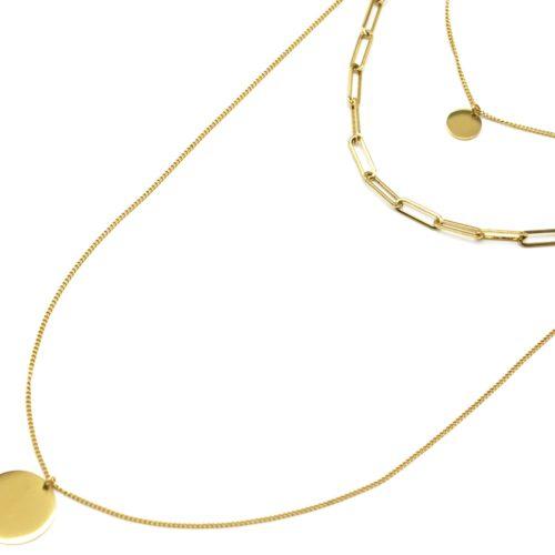 Collier-Triple-Chaine-avec-Maillons-et-Medailles-Acier-Dore