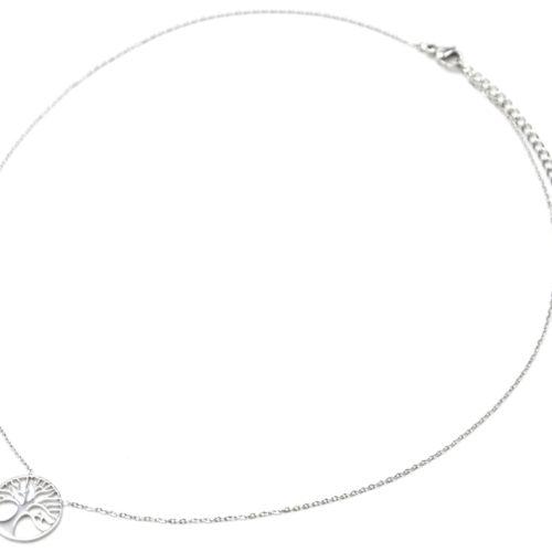 Collier-Fine-Chaine-Pendentif-Cercle-Ajoure-Arbre-de-Vie-Acier-Argente