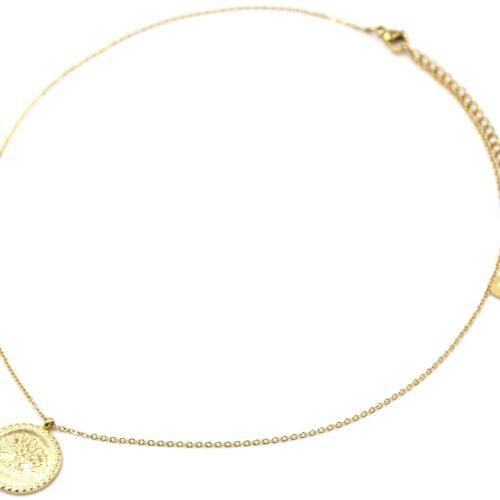 Collier-Fine-Chaine-Pendentif-Medaille-Motif-Arbre-de-Vie-Acier-Dore